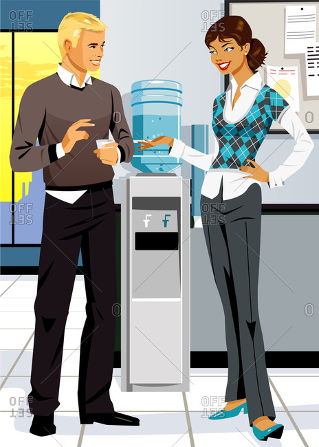 Man and woman in office talking next to water cooler