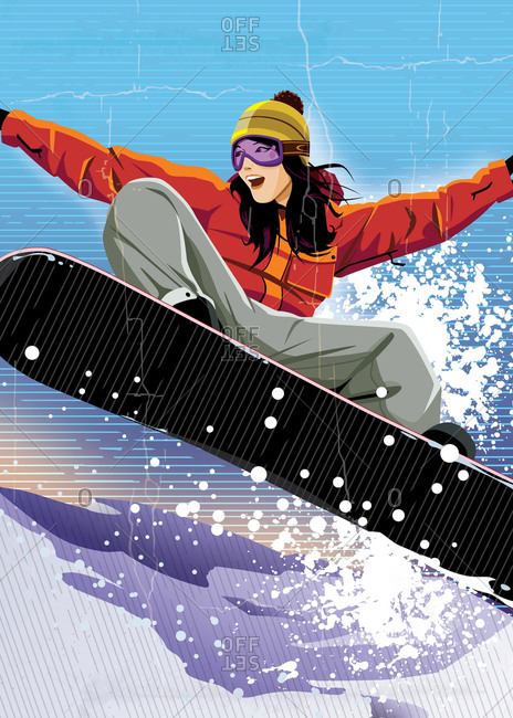 Female snowboarder with distressed cracked look to art