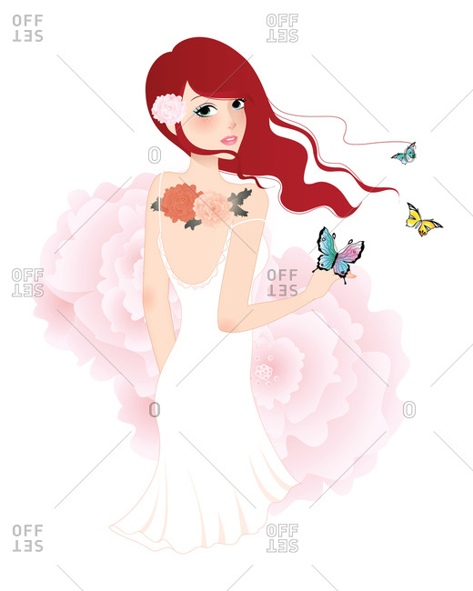 A red-haired young woman with flower tattoos surrounded by butterflies