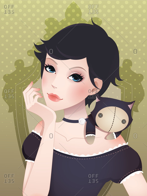 A stylish young woman with short hair posing with her cat puppet