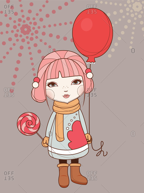 A small girl with a balloon in winter clothing