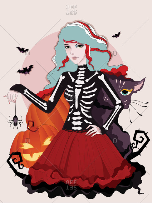 A young woman in a halloween costume