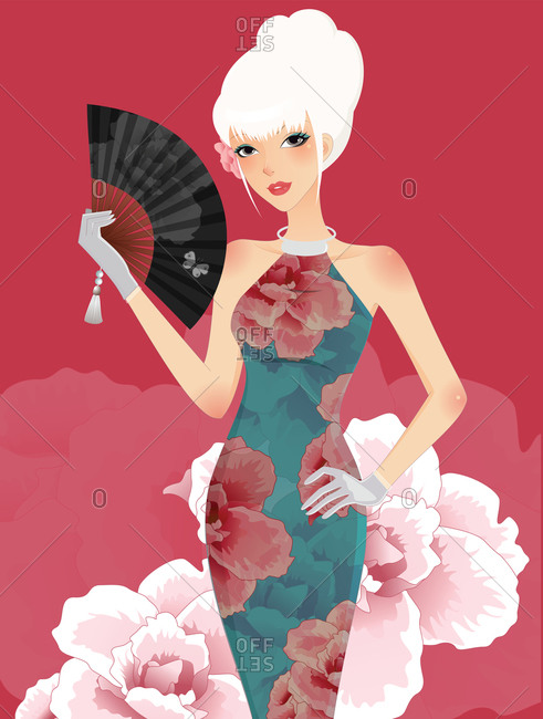 Miss China posing with a hand fan