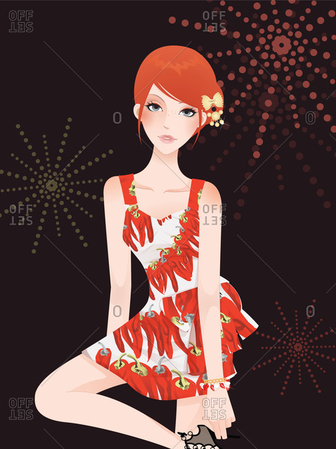 A young woman in a red pepper dress posing in front of fireworks