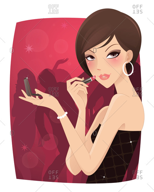 A woman applying lipstick in a nightclub