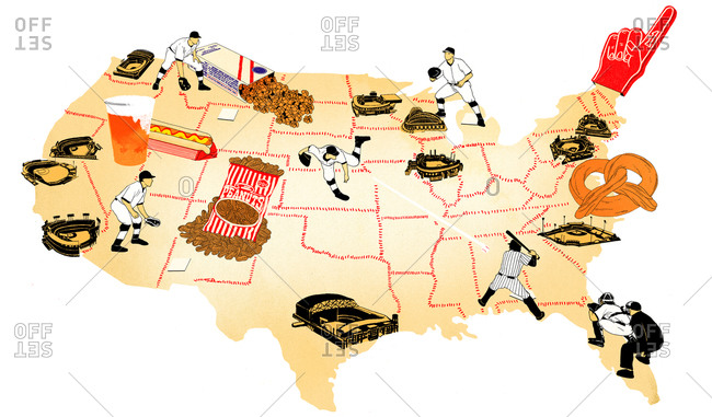 A map of America with baseball stadiums and foods
