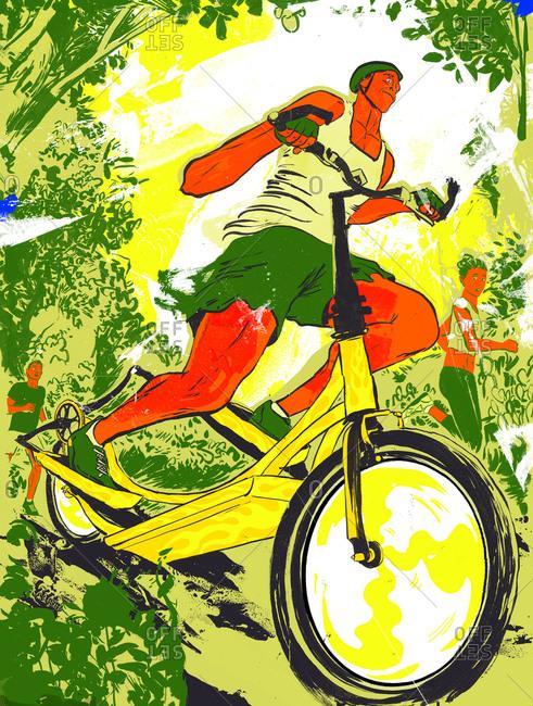 A  man riding a bike on a trail