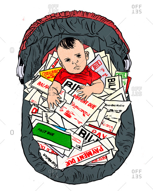 A baby sitting  in a baby seat with mail on his lap