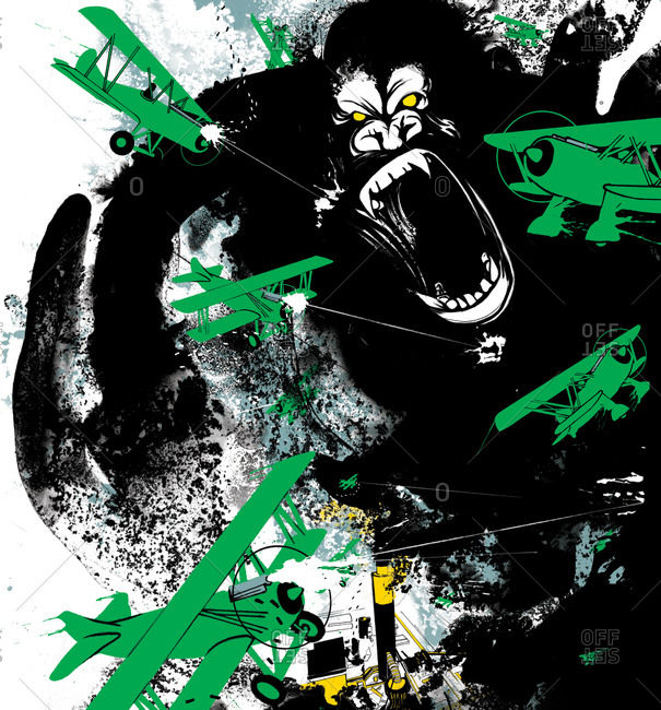 A gorilla being attacked by green airplanes
