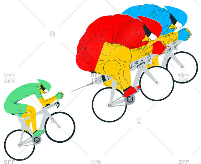 Two bulky muscle men cyclists on steroid injection bicycles followed by a healthy cyclist