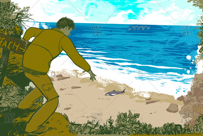 A man standing on the beach and staring at a beached whale