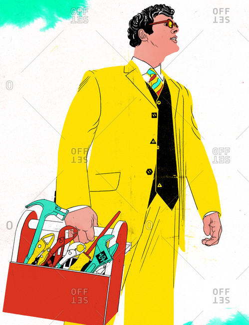 A businessman carrying a toolbox
