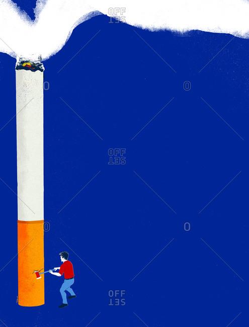 A man chopping down a cigarette