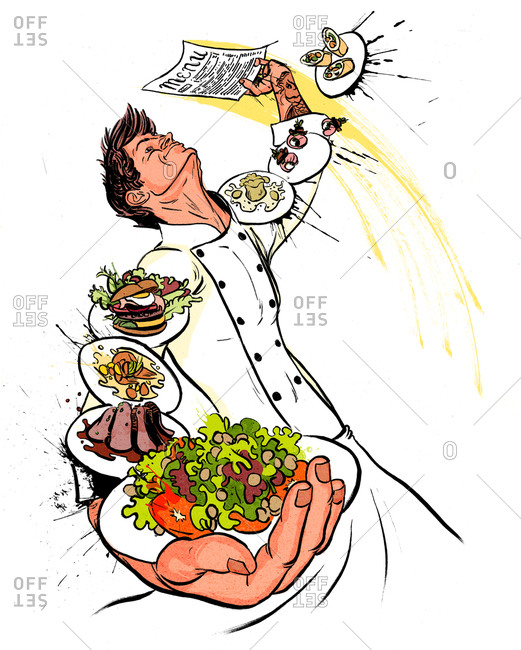 A happy chef serving plates of food