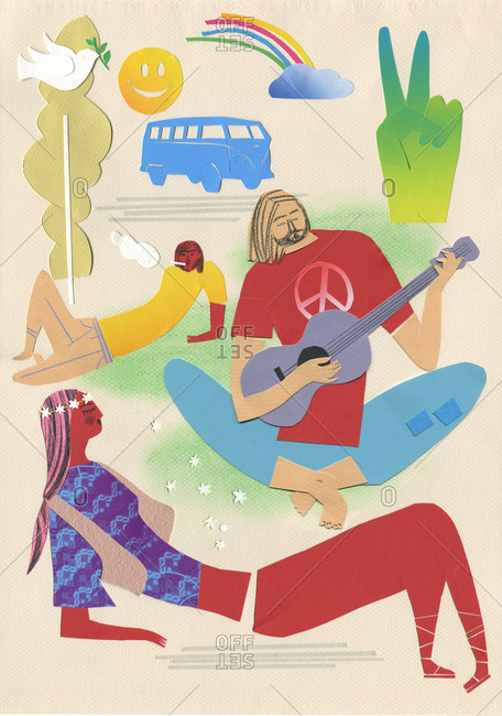 Hippies lying down in a park
