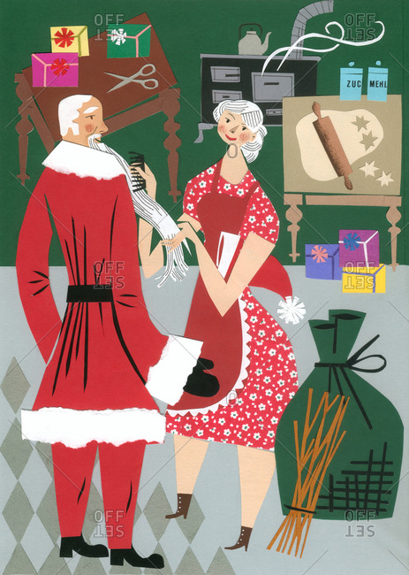 Illustration of Christmas preparation with Santa Claus