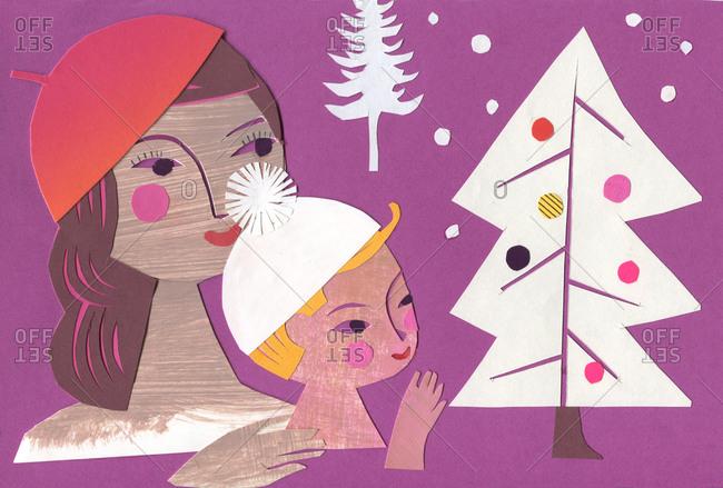 Illustration of mother and child celebrating Christmas eve