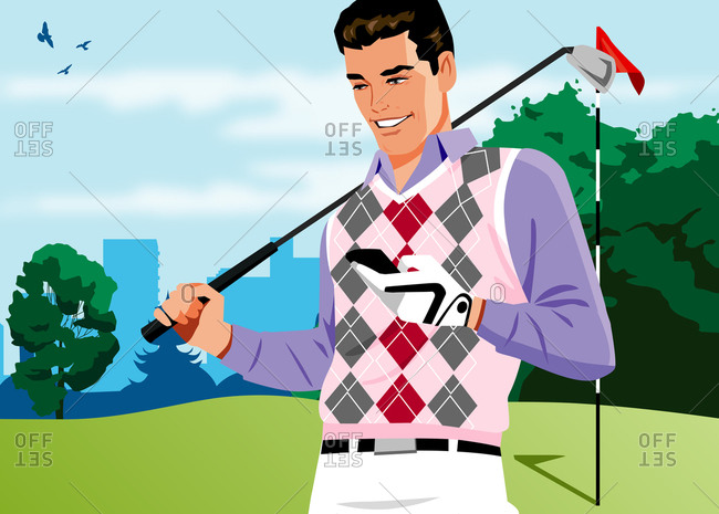 Golfer texting holding club