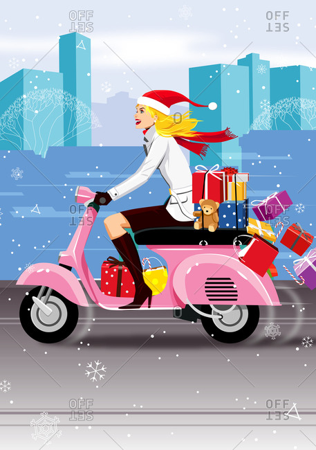 Woman in Santa hat driving moped loaded with presents