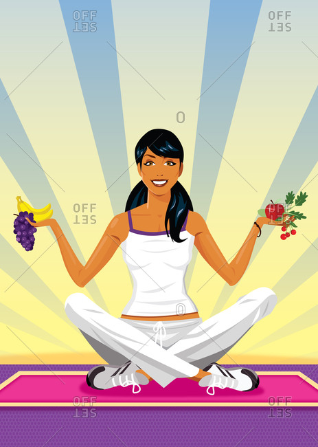 Yoga woman sitting on floor with legs crossed holding fruit and vegetables