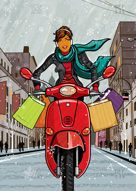 Women on moped driving on urban street with bags