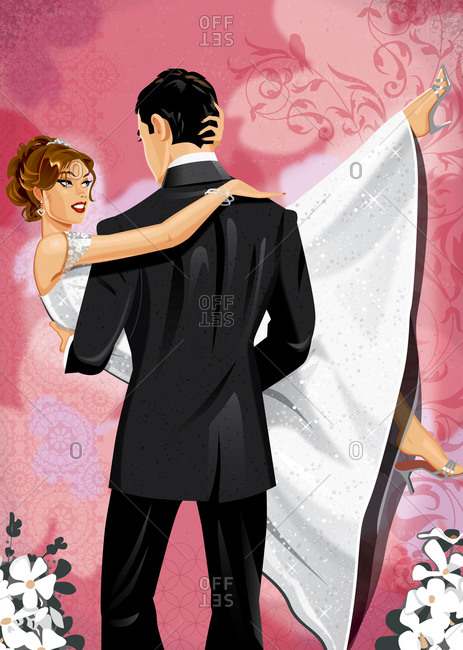 Groom carrying bride with graphic background
