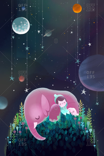 Little boy sleeping on top of a hill with his friend elephant and bunny in outer space