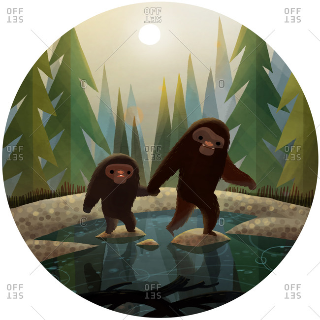 Sasquatch and son crossing the pond