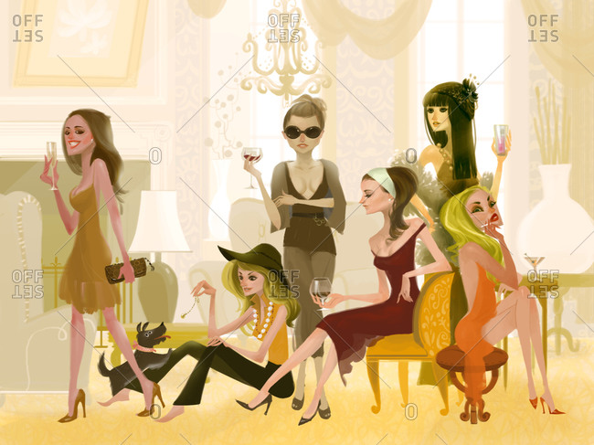 Fancy women having a girl party with cocktails
