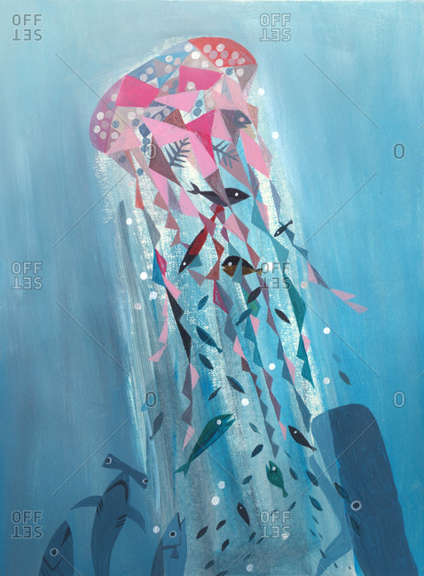 Underwater scene with fish school swimming toward a magical jellyfish
