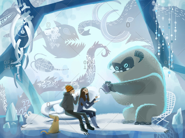Couple enjoying tea with yeti