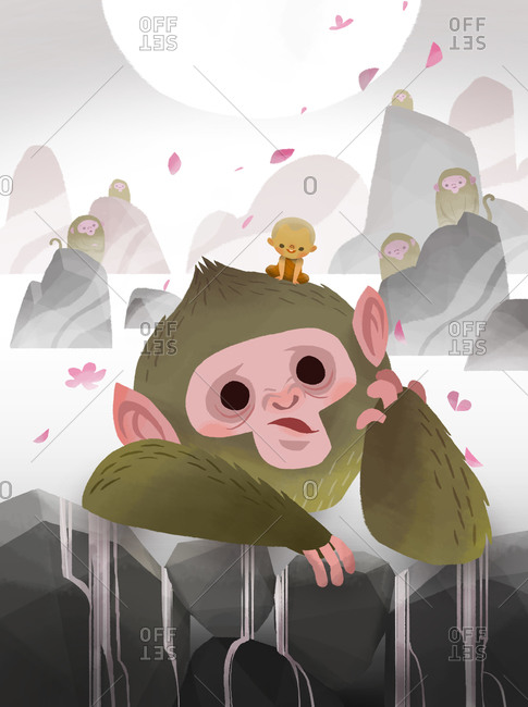 Monkey leaning on stones with a little Buddhist monk on his head in the night