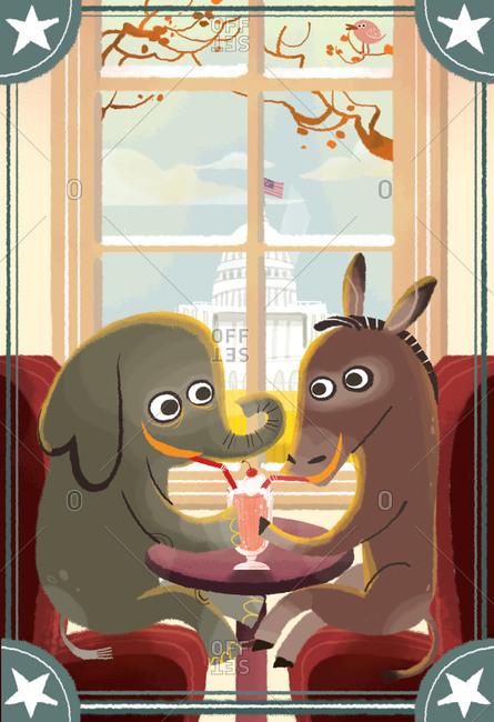 Elephant and mule sharing a milkshake in a diner in front of the White House