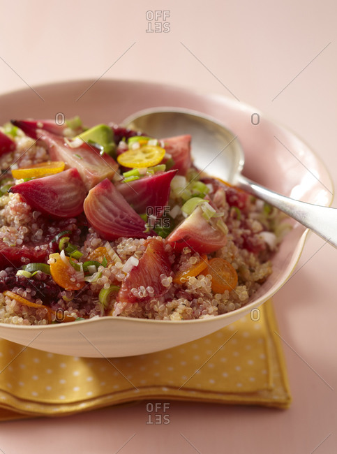 Quinoa salad with roasted beetroot, raw avocado, blood orange and sliced cherry tomato