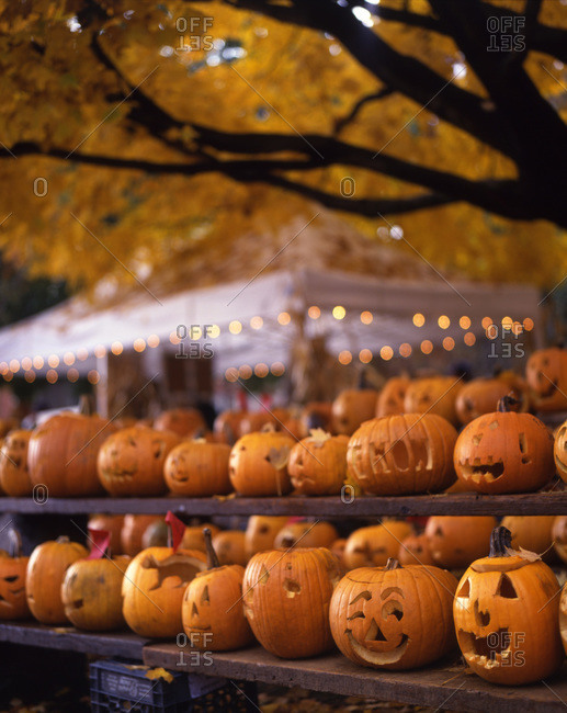Different jack-o'-lanterns in row on a Halloween festival.
