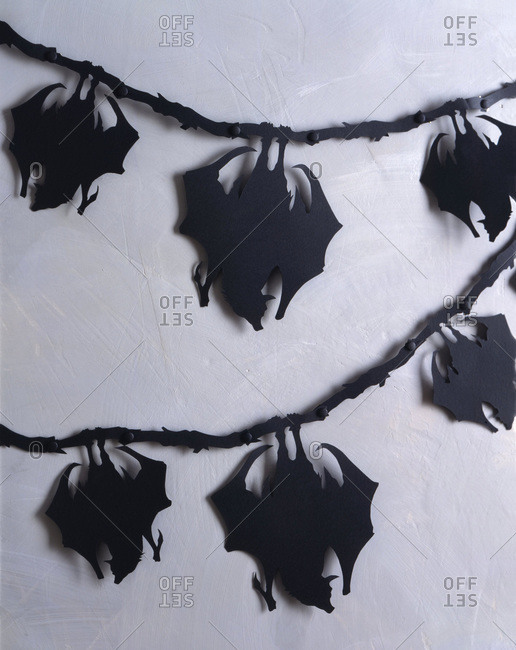Halloween bat decoration garland on the wall