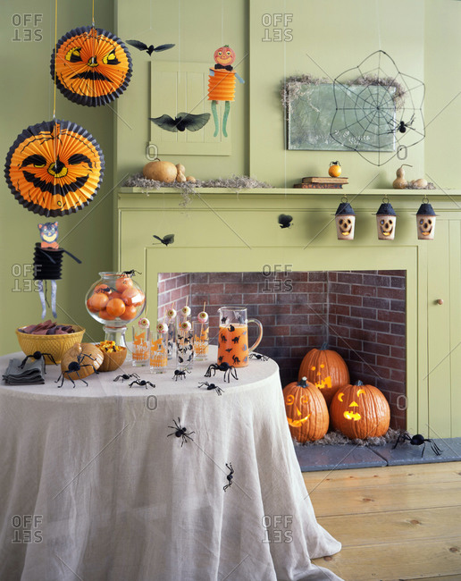 Scary Halloween interior party decoration