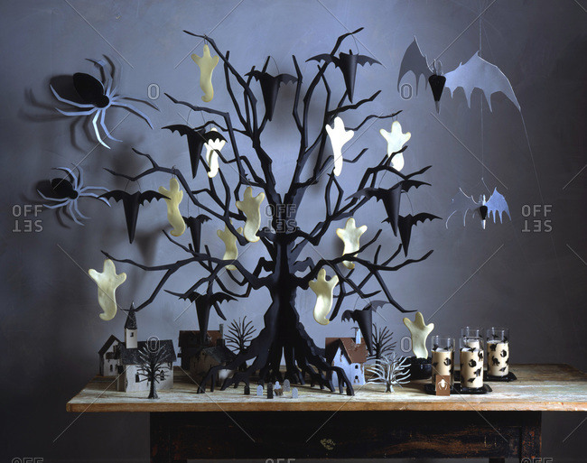 Halloween tree with black and white ornaments