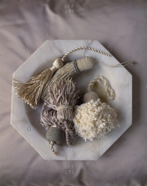 Plate of different tassels from above