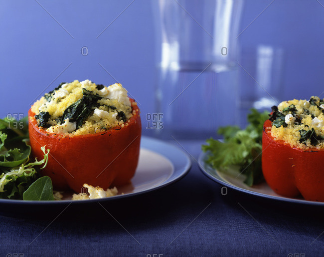 Stuffed pepper with couscous, spinach and feta.