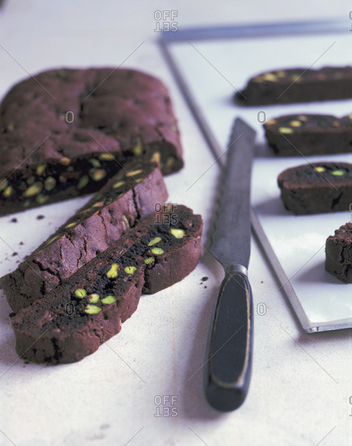 Close up of tempting brownie slices