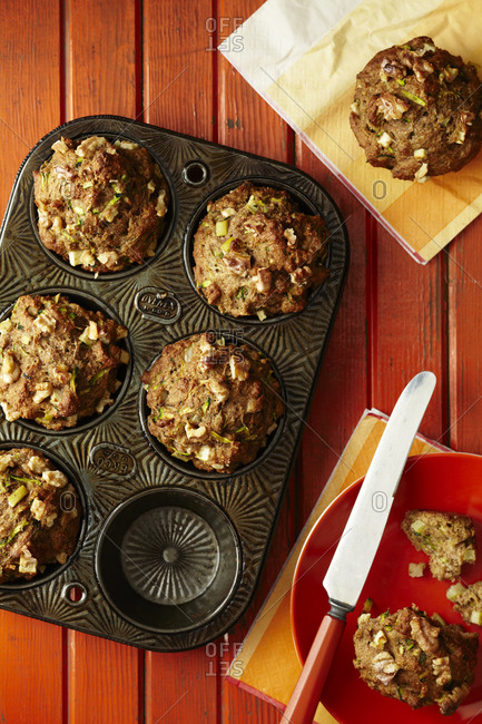 Fresh zucchini muffins in pan from above