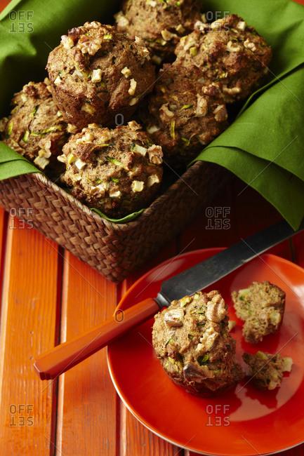 Fresh zucchini muffins in basket