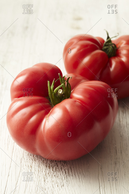 Close up of two beefsteak tomatoes