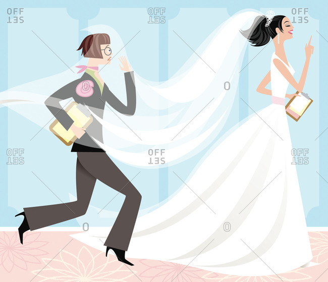 Bride giving instructions while her assistant runs after her
