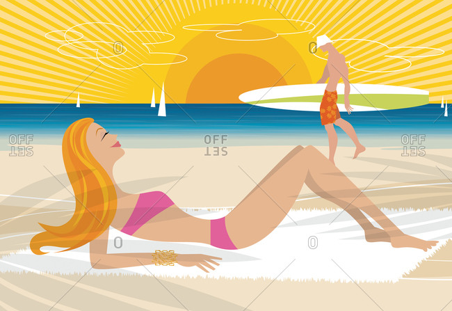 Pretty woman lying on the beach looking at a man walking with a surfboard