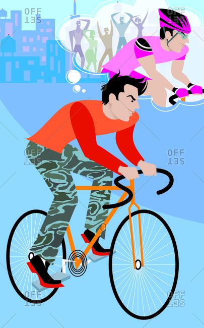 Man riding a bike preparing for a bike race