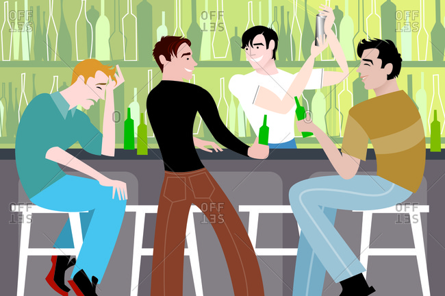 Guys sitting in a bar and having beers