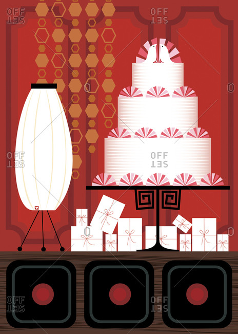 Three-layer wedding cake standing on the table in a ruby room