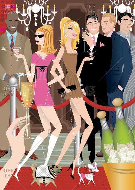 Sexy women walking red carpet with handsome gentlemen admiring them